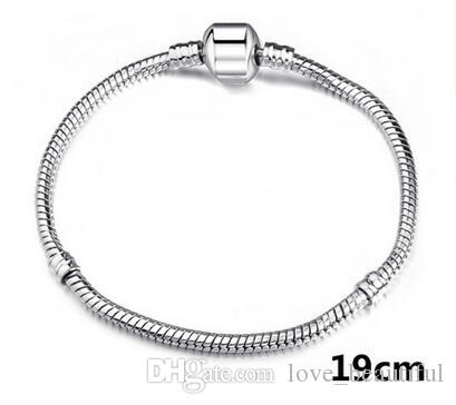 3mm Schlangenkette versilbert Mix Auftrag Fit DIY europäischen Perlen Armband Kette Silber Schlange Armband 6 Zoll-9 Zoll