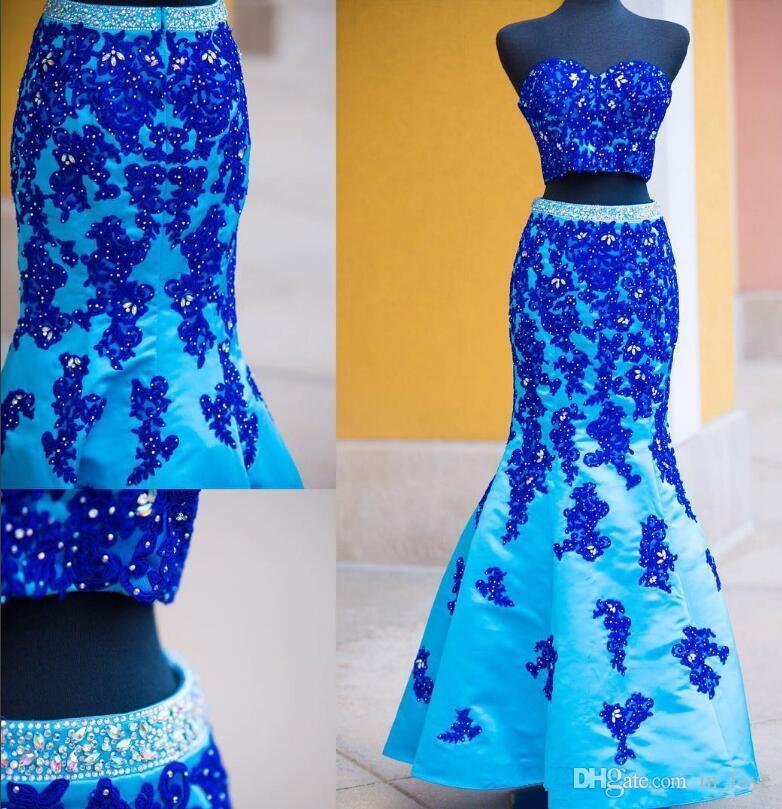 2 Pieces Sparkly Mermaid Blue Prom Dresses Diamonds Beaded Appliques Lace Satin Long Girls Party Gowns Custom Size