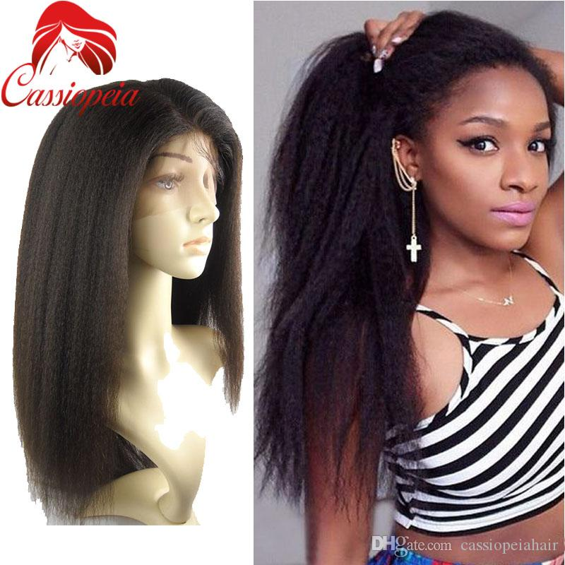 Top Quality Italian Yaki Straight Peruvian Virgin Human Hair Full Lace Wigs For Black Women 8A Grade Lace Front Wig With Baby Hair