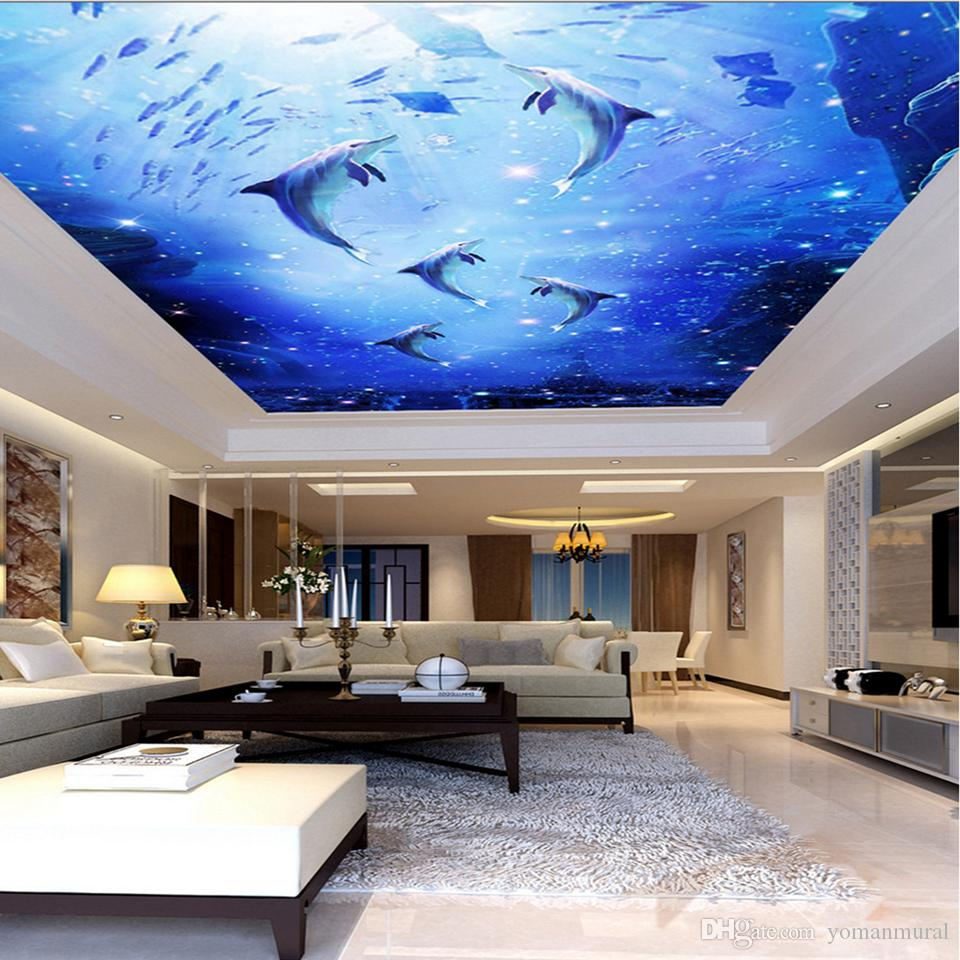 Custom 3D Photo Mural Watercolor Style Blue Sea Underwater World Dolphin Ceiling Roof Mural 3d Mural Wallpaper Ceiling Decor
