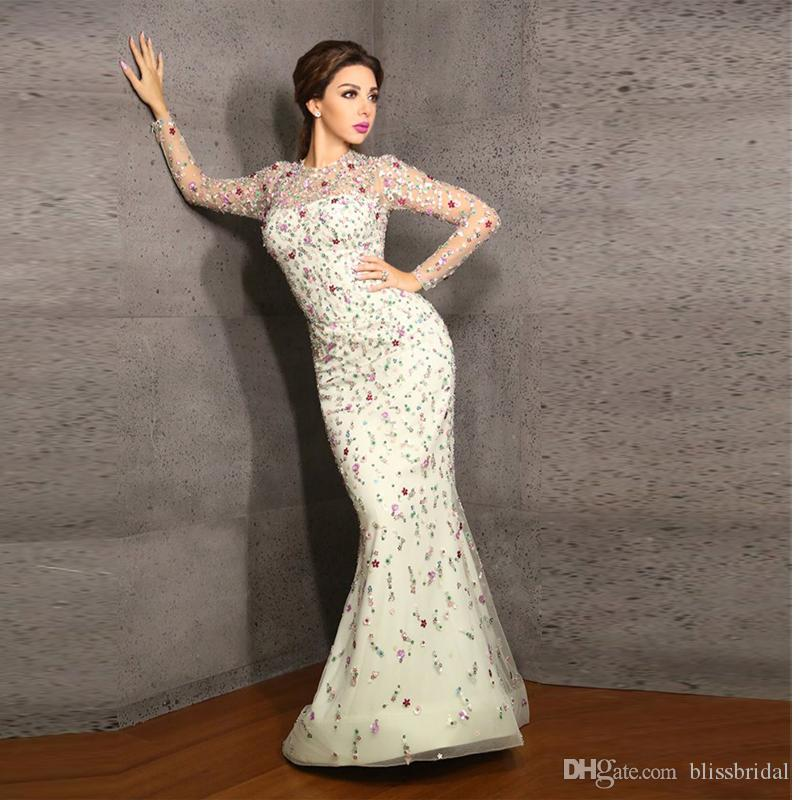 Myriam Fares Iussion Neck And Sleeve Mermaid Evening Dresses Lebanon Singer Applique Flower Organza Prom Gown Long Watteau Train Party Dress