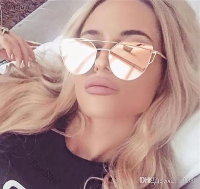 Aimade 2020 New Katzenaugen-Sonnenbrille Frauen-Marken-Designer Fashion Twin-Beams Rose Gold Mirror Cateye-Sonnenbrillen Weibliche UV400