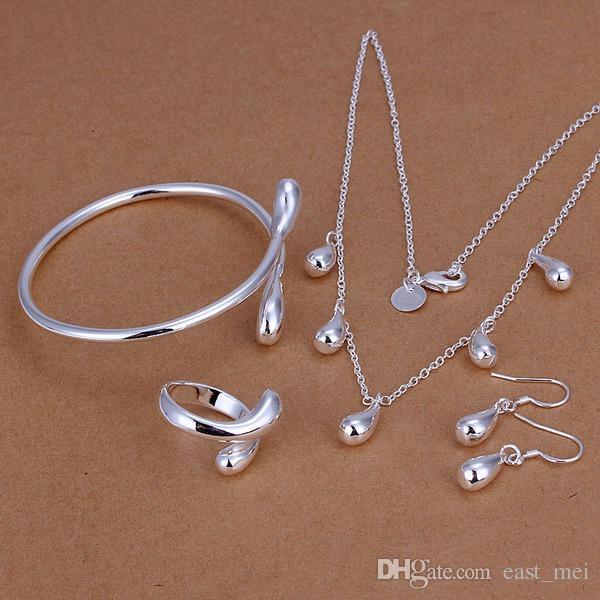 Hochzeit Wassertröpfchen Sterling Silber Überzogene Schmuckset für Frauen ES220, Mode 925 Silber Halskette Armband Ohrring Ring Set