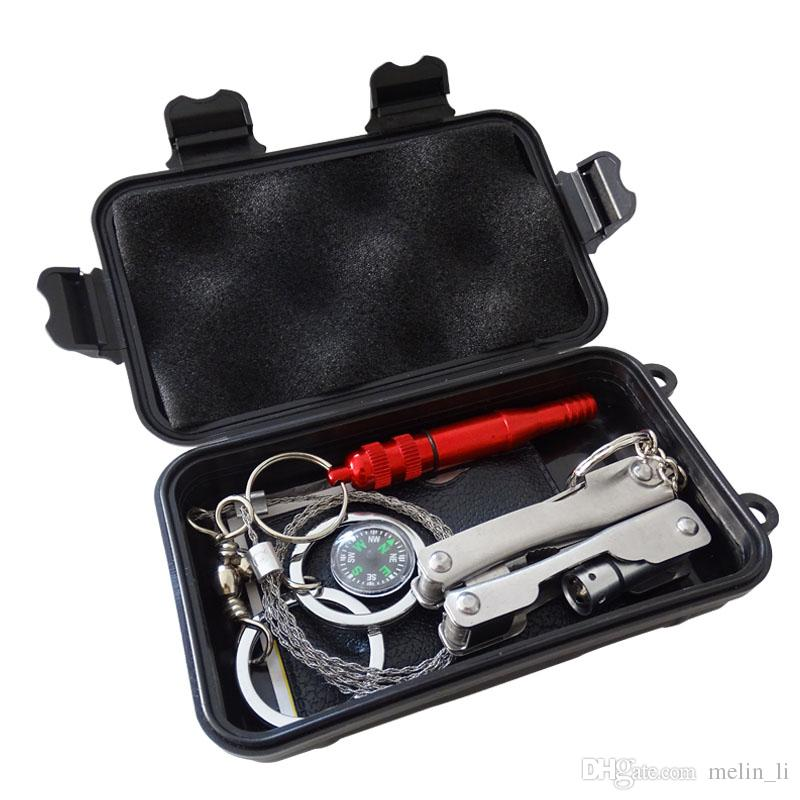 Мультитул Карманный комплект для выживания Оборудование для кемпинга на открытом воздухе Туризм Рюкзак Наборы для выживания в чрезвычайных ситуациях SOS EDC Инструмент Многофункциональная коробка