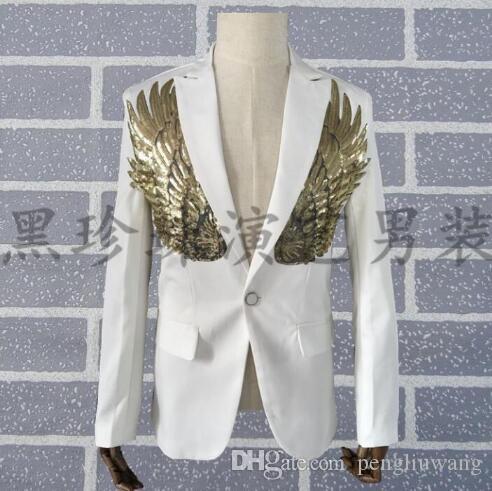 Erkekler altın pullu takım elbise tasarımları homme terno sahne kostümleri kişiselleştirilmiş şarkıcılar erkekler blazer dans elbise ceket elbise serseri ...