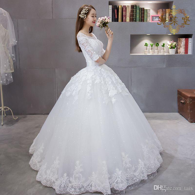 2016 autumn winter new Korean wedding dress show thin sleeve lace ...