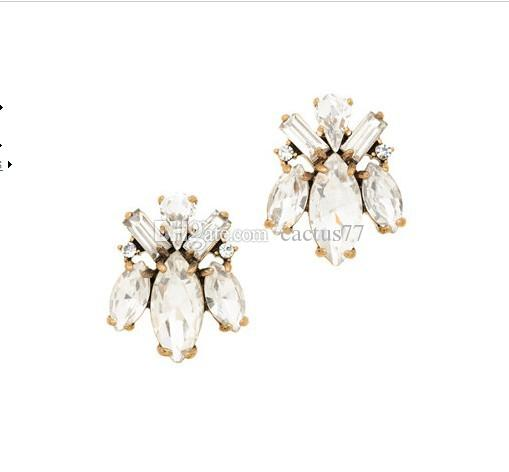 Fashion JCR Crew Crystal Bug Earrings Gold Plating Bohemia National elegant jewelry gem earrings Retro Crystal Branch Earrings for women