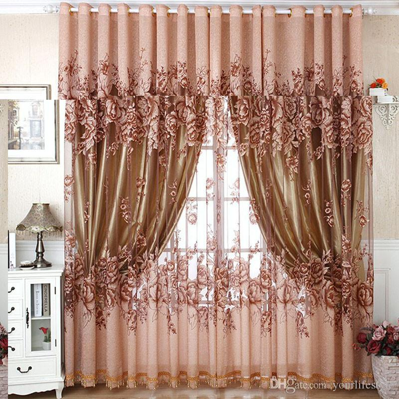 Home Textile Window Curtain Floral Peony Burnout Classic Fabric Tulle Voile Sheer Curtains For Living Room Bedroom 100*250cm
