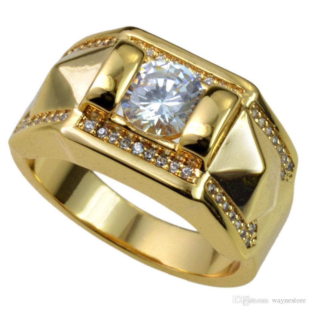 Новые Мужчины 18K Золото наполнены Австрийские Кристаллы Размер 8-15 Кольцо Ювелирные Изделия R245
