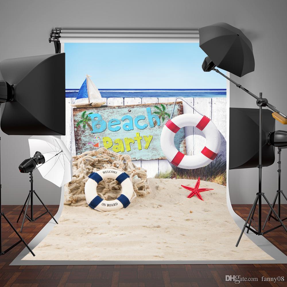 SUSU 5x7ft Praia Fotografia Backdrops Material de Algodão Sem Rugas Verão Fundo Do Mar Bóia de Vida para a Festa de Estúdio de Fotografia