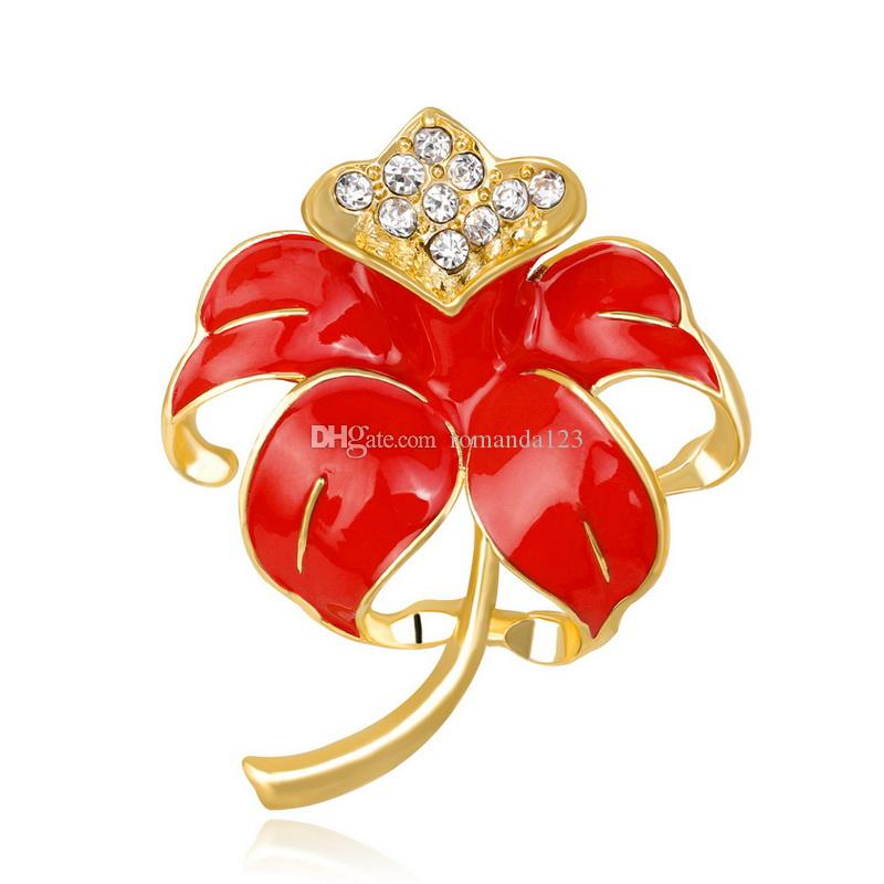 Enamel Rhinestone Red Poppy Brooch Pin Badge Golden Fashion Flower Remembrance Day Gift Jewelry Brooches DHL free shipping