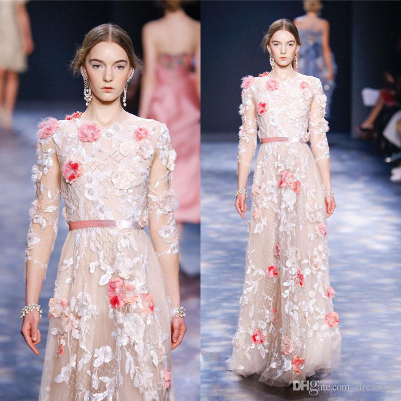 Marchesa 3D Appliqued Prom Dresses With 3/4 Long Sleeves Jewel Neckline Beading Party Dress Floor Length Tulle Evening Gowns With Sash