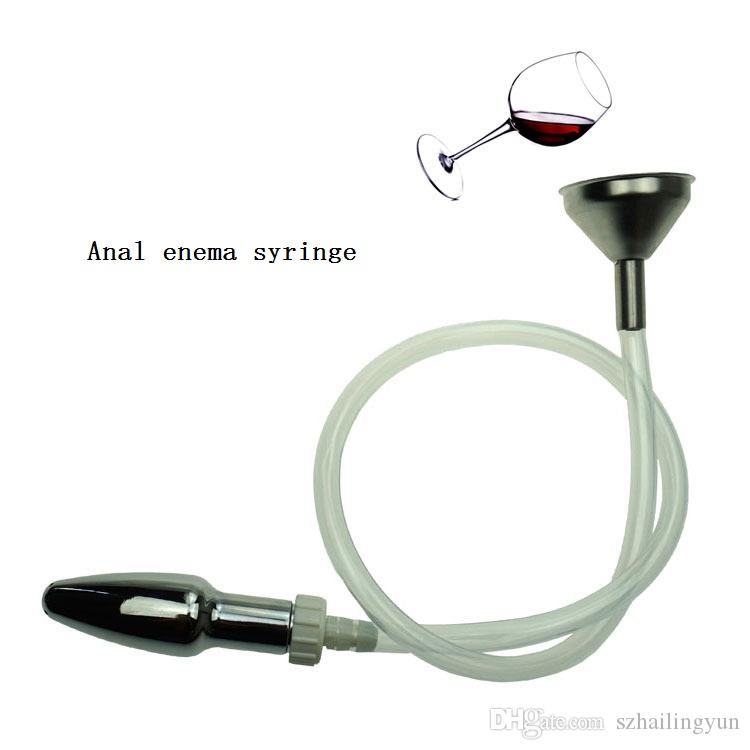 Adult Products Sex Toys Unisex Anal Enema Syringe Enema Cleaning Irrigator Stainless Steel Funnel Filling Device +Anal Plug