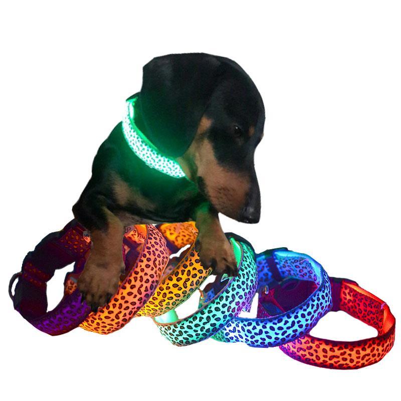 Adjustable Leopard LED Lights Glow Pets Collars,Nylon Pet Dog Cat Night Safety Luminous Flashing Necklace Pet Supplies S-XL