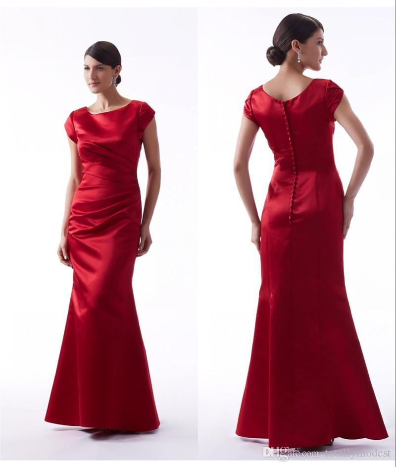 Red Mermaid Long Modest Bridesmaid Dresses With Short Sleeves Winter Satin Pleats Bridesmaids Dresses Wedding Party Dresses