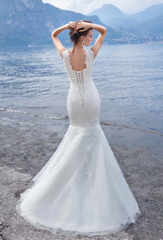 2017 Spring Gorgeous Cheap Wedding Dresses Cap Sleeves Mermaid Full ...