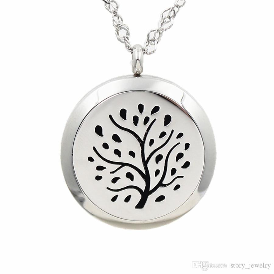 20-30mm Titanium Steel Magnetic Perfume Locket Essential Oil Aromatherapy Diffuser Locket Pendant Necklace Tree Charm With Felt Pads