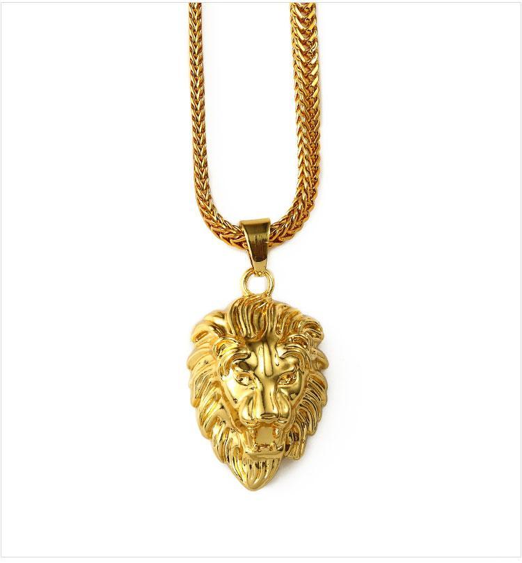 01 hip hop golden lion head pendant necklace