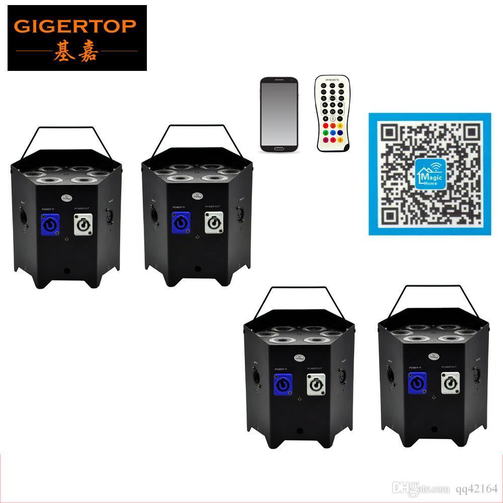 Freeshipping 4 Satz 6X6W 6IN 1 Batterie Wireless-DMX RGBWA Led Par Can Licht TRUE 2.4G Wireless Transceiver Batterie arbeiten TP-G3046-6IN1