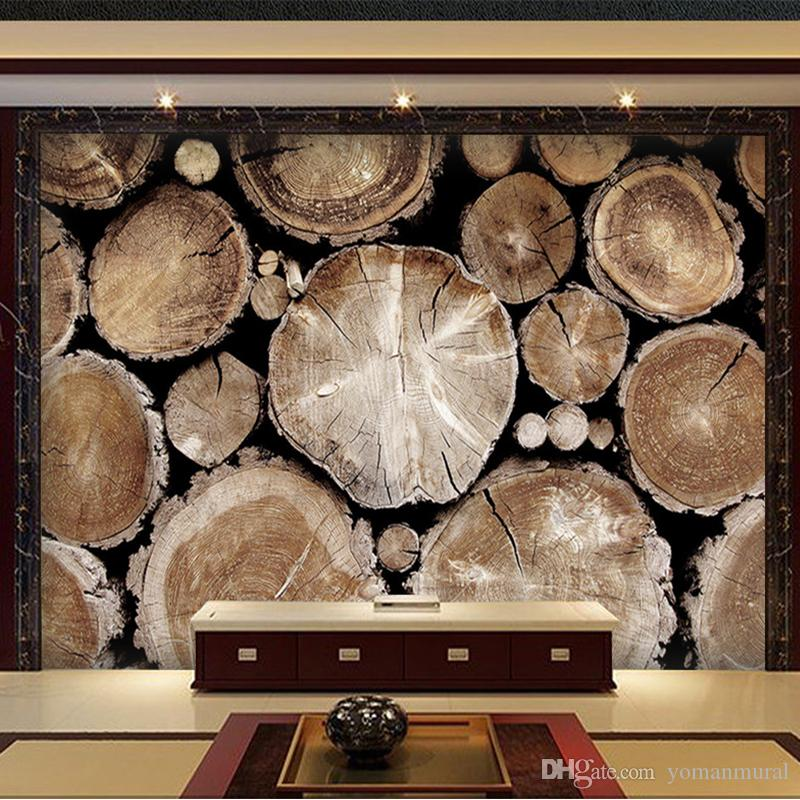 Пользовательские обои для стен 3 d Нетканые обои Ретро Вуд абстрактного искусства стены гостиной Диван ТВ фона Фото Обоев