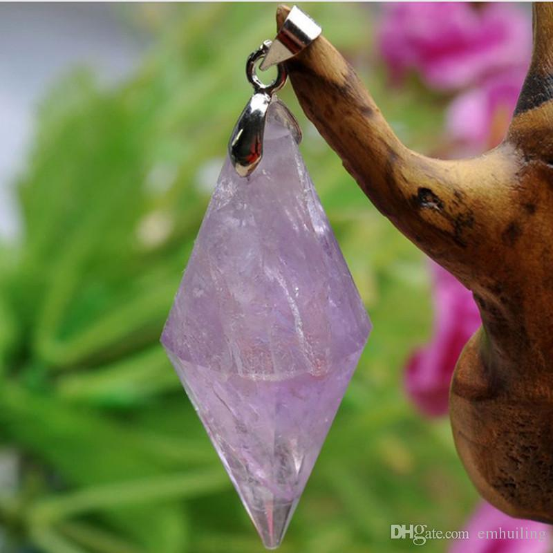 Natural Amethyst Point Pendant Amethystine Quartz Druzy Charm Amatista Pendulum Pendant Energy Healing Crystal Meditation (without necklace)
