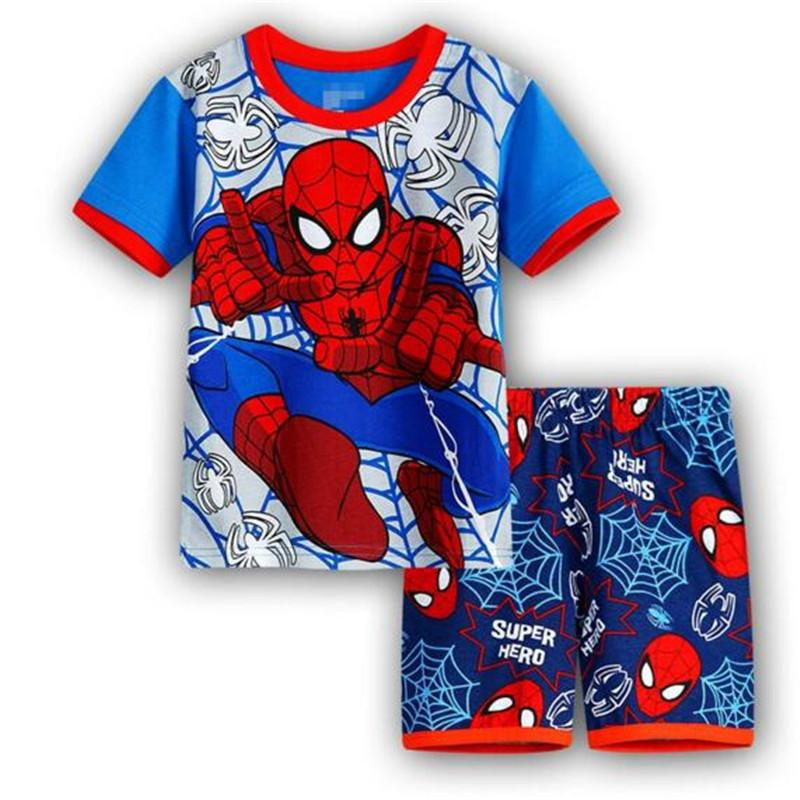 DHL الكرتون منامة مجموعات بنين بنات الرجل العنكبوت الاطفال منامة مجموعات الطفل ملابس قصيرة الأكمام الملابس مجموعات الصيف للأطفال لطيف منامة