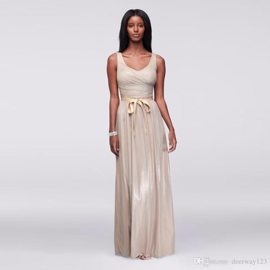 Increspato scollo a V corpetto metallizzato abito da sera in lamina con vita arricciata champagne lunghezza del pavimento 263343 abiti da promenade vestido de festa curto
