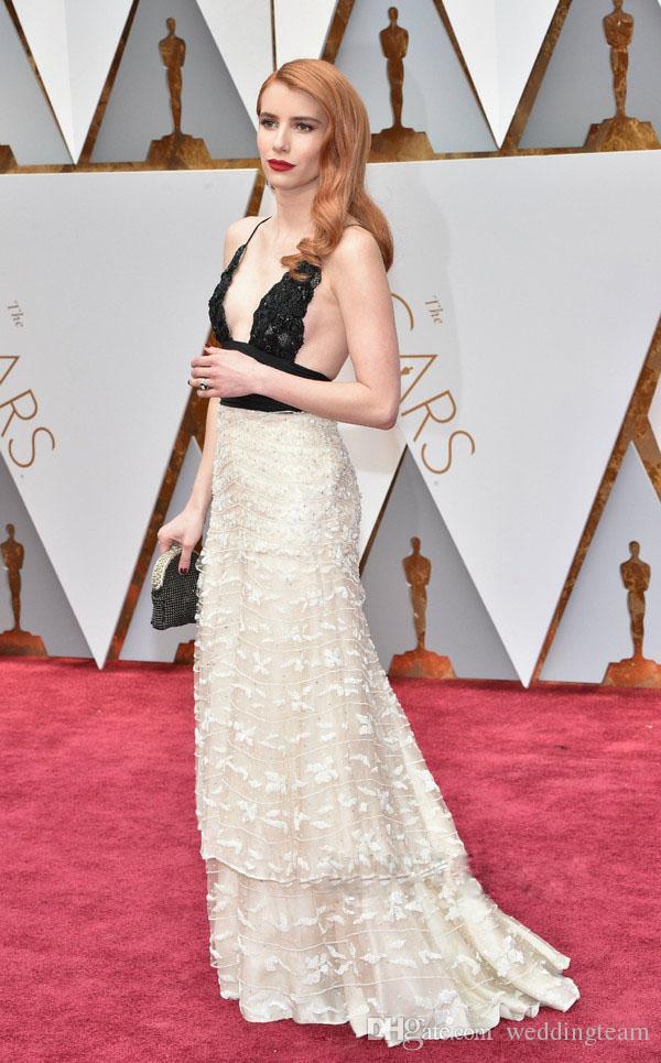 2017 Oscar Award Sexy Prom Dresses Deep V Neck Spaghetti Strap ...