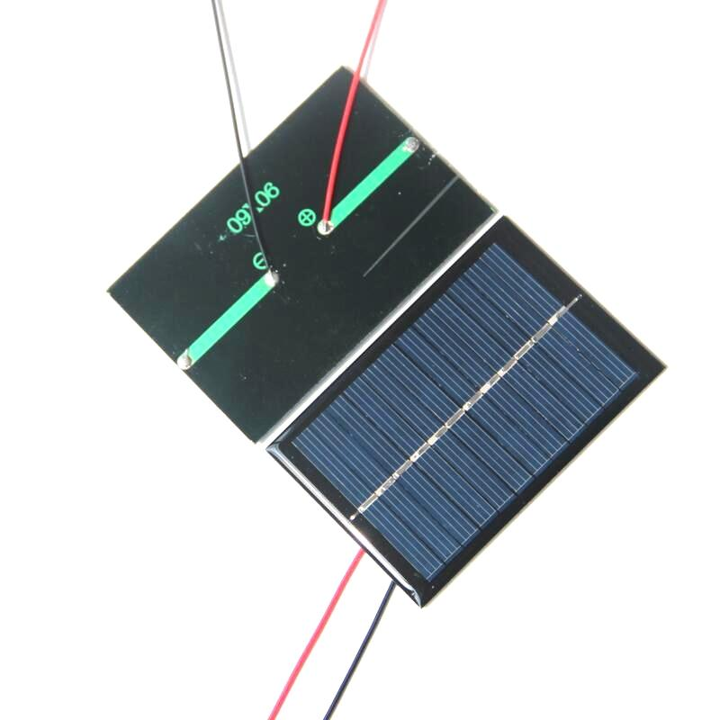 BUHESHUI Epoxy Polycrystalline Silicon Solar Panel Small Solar Panels 0.6W With Black/Red Wire Solar Cells w/ Cable 10pcs/lot Free Shipping