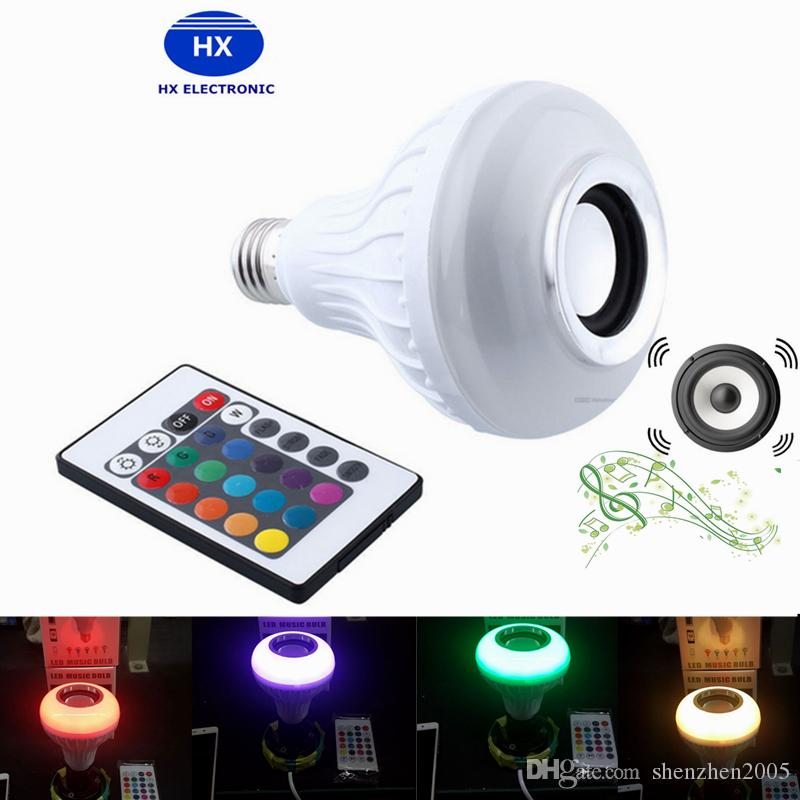 Free Shipping DHL Hot Wireless Bluetooth 6W LED Speaker Bulb Audio Speaker LED Music Playing Lighting With 24 Keys E27 Remote Control 20pcs