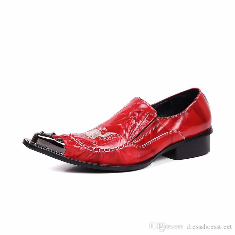 New Luxury Fashion Oxfords Eagle Embroidery Slip on Wedding and Nightclub Party Shoes Men Red Christmas Gifts