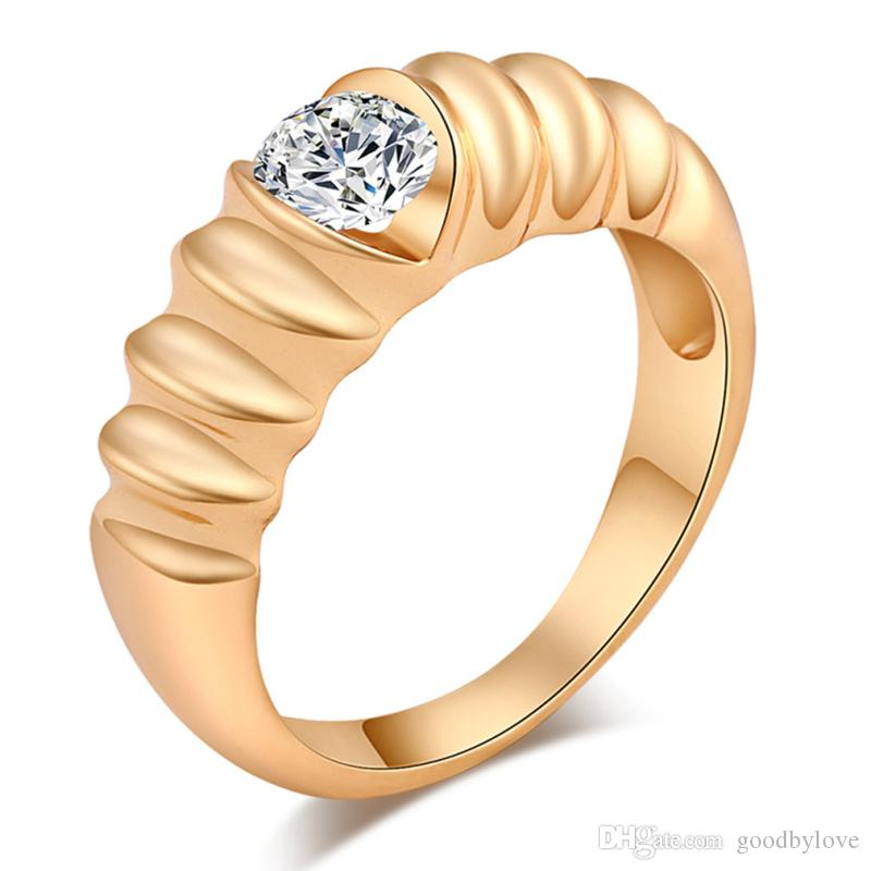 New Arrivals Hot Gift Womens Jewelry Yellow Gold Color Big Round Cubic Zirconia Stones Wedding Engagement Finger Ring