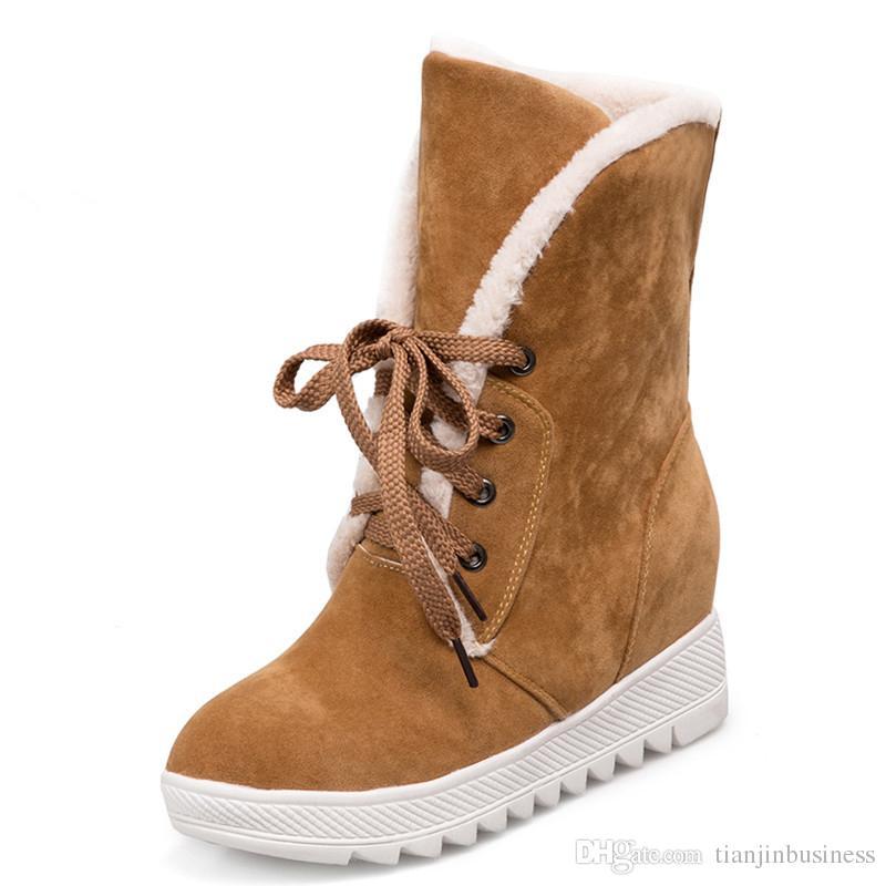 Stivali da donna Plus Size 34-43 Moda stivali da neve punta tonda Lace-Up stivali invernali donna scarpe nero giallo grigio