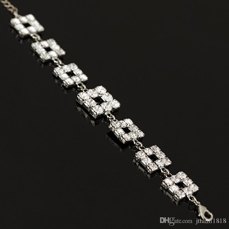 2017 Matrimonio Bracciali Bangles nuovo piena stella di arrivo signore di cristallo strass super-lucido argento dei collegamenti bracciali a catena in Europa articolo