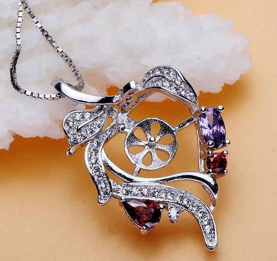 Heißer Verkaufs-eingelegter Zirkon natürliche Perlen-hängende Halsketten-Großhandelszusatz DZ0186