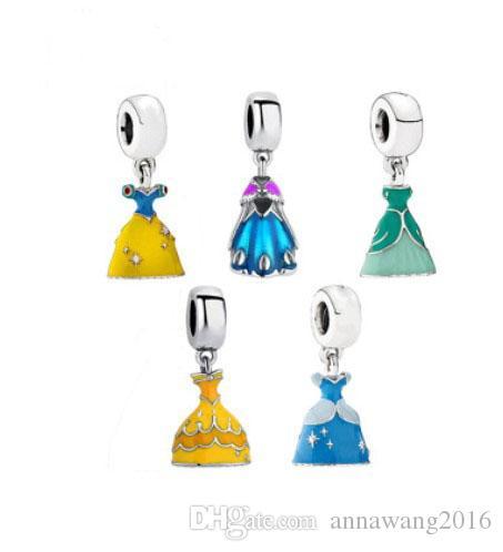 يناسب باندورا فضة سوار الأميرة dizney تنورة الخرز سحر سندريلا dressfor الأوروبي الأفعى سحر سلسلة الأزياء diy مجوهرات