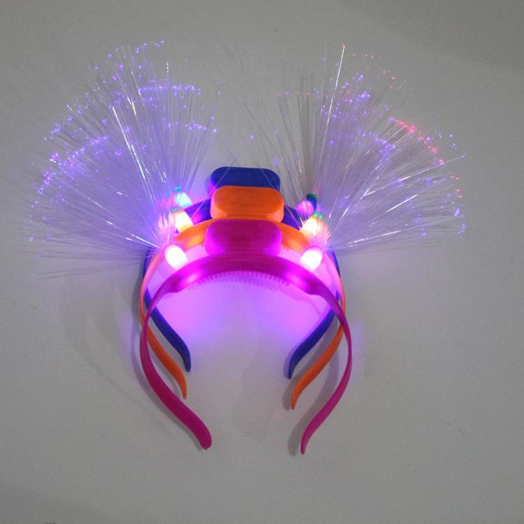 Fabricants de vente flash tête boucle pneu lueur fibre en épingle à cheveux tête cerceau parti parti fournitures en gros