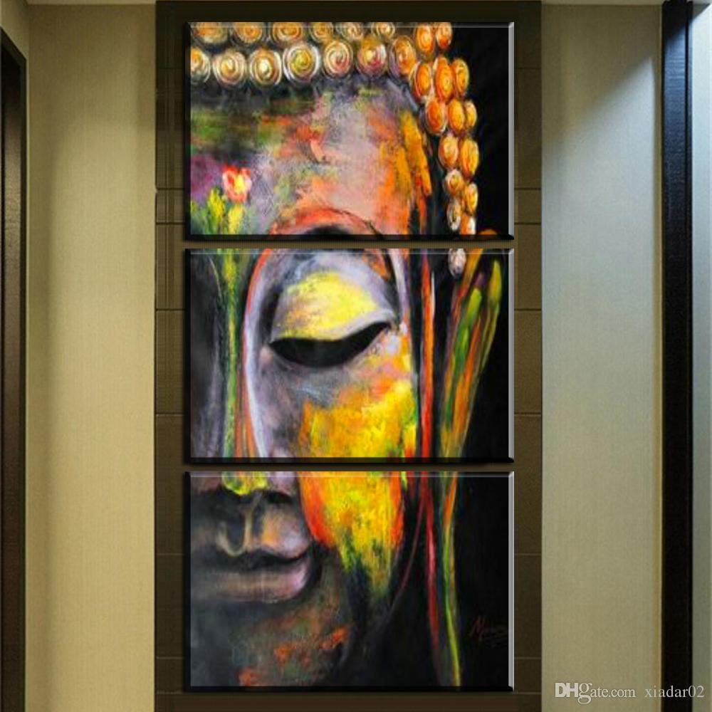 ZZ449 3 pezzi stampe di arte della parete della tela di canapa buddha olio su tela pittura di arte per soggiorno camera da letto decorazione senza cornice decorazione della parete di arte