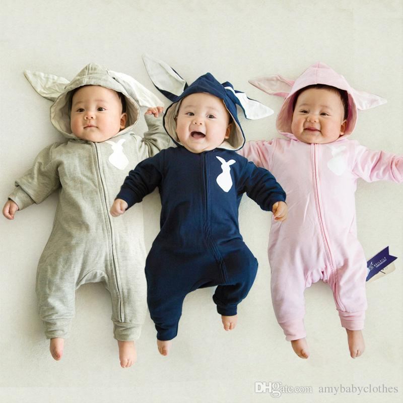 Spring Bunny Baby Rompers 1pc hooded clothes animal costume rabbit baby jumpsuit with tail overalls for child 295