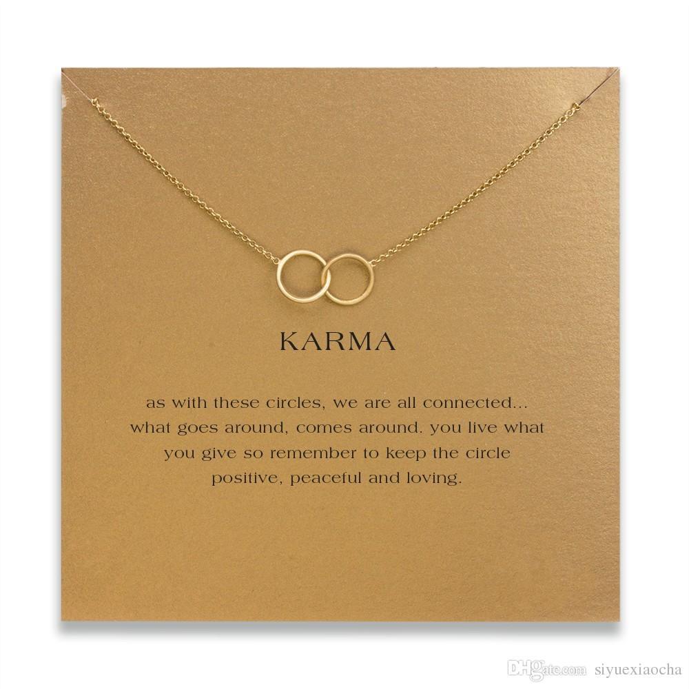 Con la carta! Collana Dogeared con pendente a 2 cerchi (karma), colore oro e argento spedizione gratuita e alta qualità.