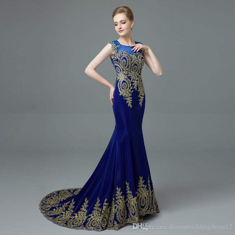 2017 새로운 디자인 골드 자수 인어 이브닝 드레스 블랙 블루 레이스 이브닝 가운 패턴 정장 드레스 긴 댄스 파티 드레스
