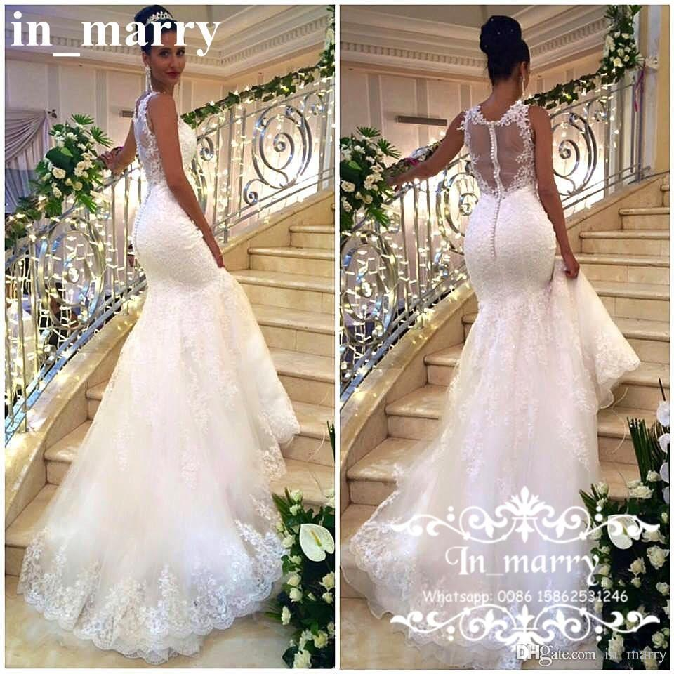 Sexy Arabic African Mermaid Wedding Dresses 2017 Plus Size Backless Full  Vintage Lace See Through Back