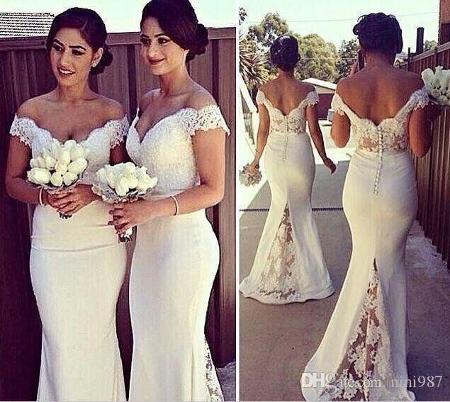 Elegant Lace Mermaid Bridesmaids Dresses 2016 Sexy Off the Shoulder Backless Wedding Prom Gowns for Bridemaid Vestidos De Noiva