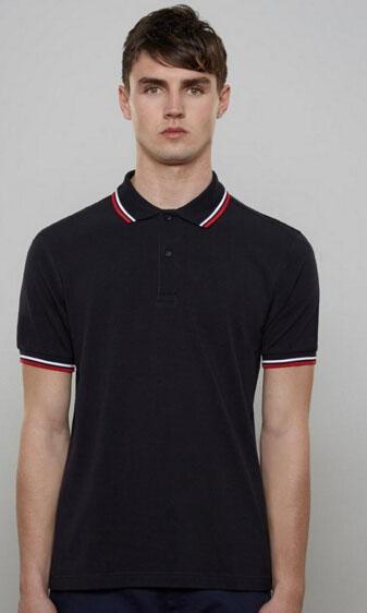 Verano de Londres nuevo deporte de los hombres camisas de polo transpirable 100% de algodón para hombre de la camisa de polo de la solapa de negocios camiseta polos Negro Sólido
