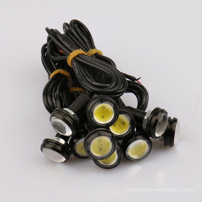 10 pcs Super Brilho Olhos de Águia LEVOU 23mm Concha Preta DRL Daytime Running Luzes de Trabalho À Prova D 'Água Lâmpada de Estacionamento Car Styling 23