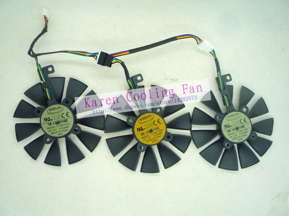 As placas gráficas originais do ventilador de refrigeração para ASUS STRIX-RX480-O8G-Gaming STRIX-GTX1060-O6G-Gaming 1050TI GTX1070 T129215SU T129215SM
