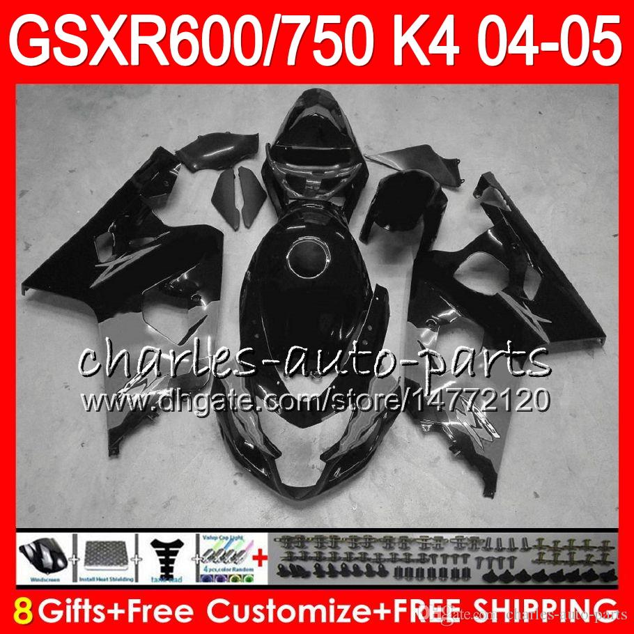 8 Hediyeler Parlak Siyah 23 Renkler Vücut Suzuki GSX-R600 GSXR750 GSXR600 04 05 9HM49 GSX R600 R750 K4 GSX-R750 GSXR 600 750 2004 2005 Fairing