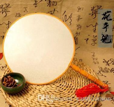 DIY فارغة المشجعين اليد الحرير الأبيض مع مقبض الطلاب الأطفال ناحية اللوحة برامج الفنون الجميلة الصينية جولة مروحة