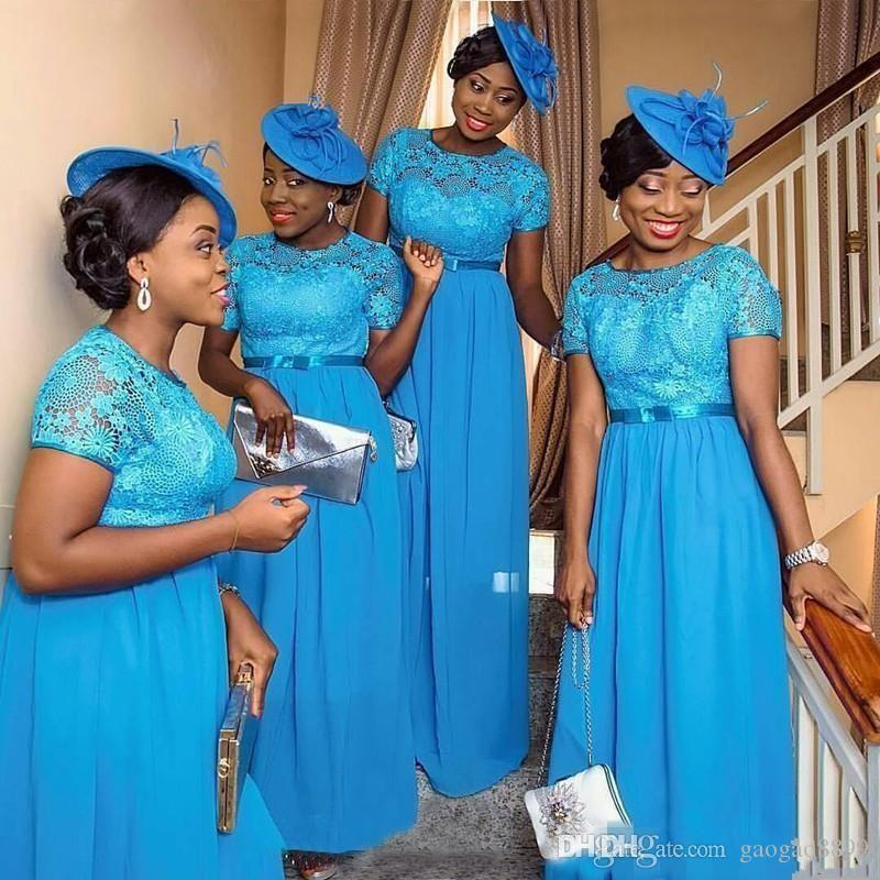 Hot Sale Nigerian Style Bridesmaid Dresses Blue Lace Plus Size Short Sleeves Plus Size Wedding Guest Party Maid Of Honor Gowns Cheap