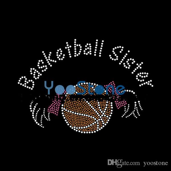 Crown And Basketball Sister Iron On Rhinestone Transfer Hot Fix Motif For Sports t-Shirt